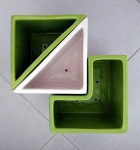 Горшки кашпо керамические комплект 3 штуки