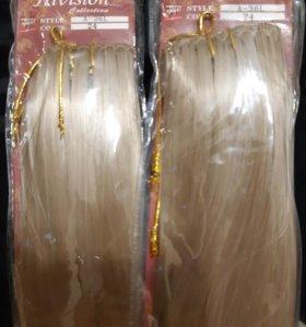 Новые волосы на заколках. 2 упаковки.
