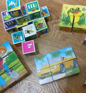 Кубики (алфавит, машинки, герои сказок)
