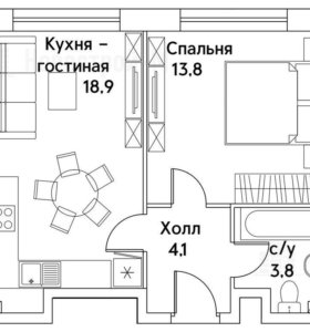 Квартира, 2 комнаты, 40.6 м²