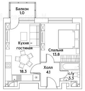 Квартира, 2 комнаты, 40.5 м²