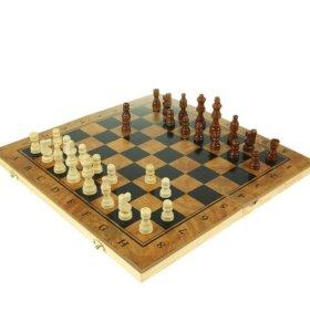 3 в 1: шахматы, шашки, нарды, 40х40 см. Новая