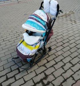 Санки - коляска Ника 7-3 с выкатными колесами