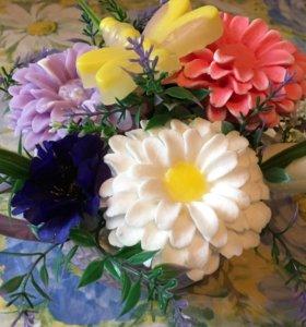 Букет в чашке . Цветы из мыла ручной работы
