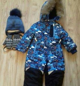 Зимний комбинезон+шапка+рукавицы