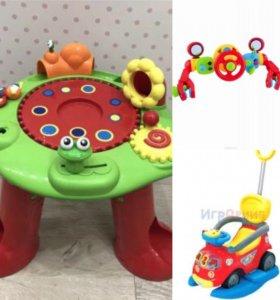 Детские развивающие игрушки, толокар, руль elc