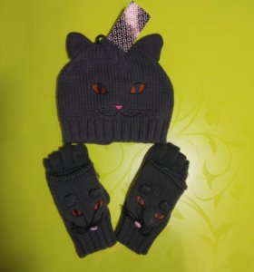 Шапка кошка и варежки (перчатки) мышки