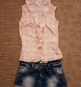 Джинсовые шорты+блузка