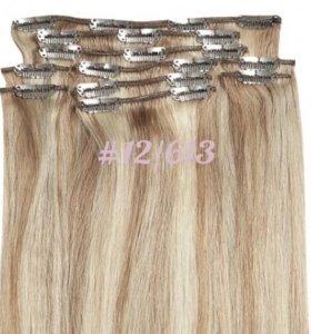 Волосы на заколках мелированные