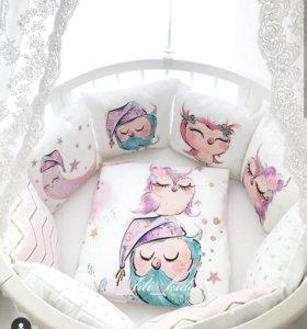 Бортики в кроватку с акварельным рисунком