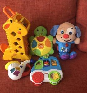 Игрушки Fisher Price(жираф, щенок, машинка)