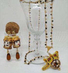 Комплект украшений из сицилийской керамики