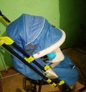 Санки - коляска НИКА 7-3/1 синий.