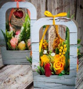 Весенний букет из мыльных роз