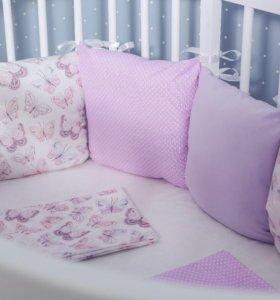 Набор постельного белья БАБОЧКИ в кроватку детскую