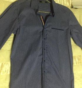 Рубашка синяя в клетку