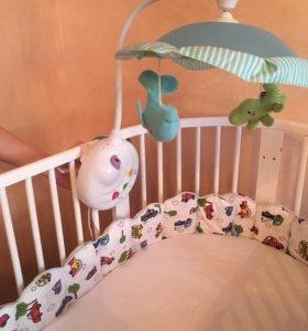 Карусель в кроватку Fisher Price и набор игрушек