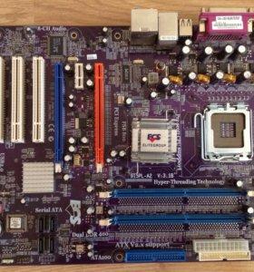Материнская плата ECS 915PL с процессором.