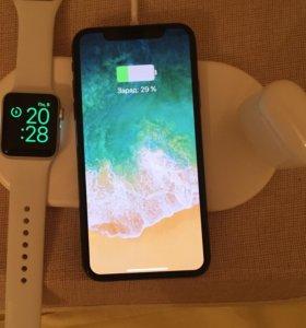 Apple iPhone & Samsung беспроводная зарядка 3 в 1