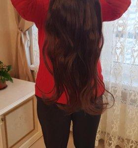 Натуральные волосы на заколках .
