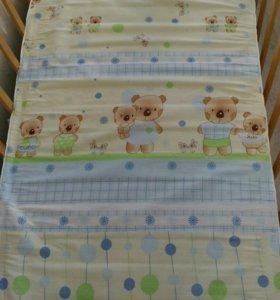 Матрас в детскую кроватку + наматрасник