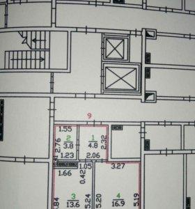 Квартира, 1 комната, 4.52 м²