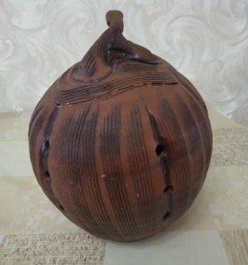 Керамическая ваза для хранения чеснока или до.вещ