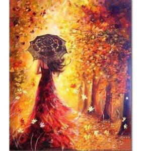 🎨Картина рисование по номерам Девушка и Осень 🍁