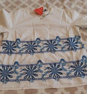 летняя хлопковая блуза с вышивкой