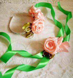 украшение на выпускной бал(ободок и браслет))