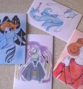 Почтовые открытки с авторскими рисунками