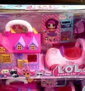 Игровой набор Лол домик машина кукла с акссесуарам