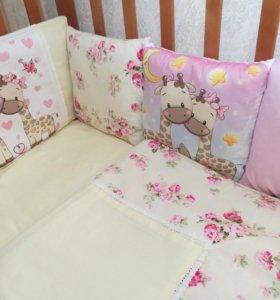 Бортики-подушки+простынь+одеяло