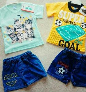 Новые комплект джинсы шорты и футболка
