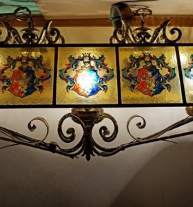 Люстра неоготика - стекло, бронза (Италия)