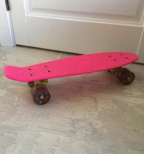 Скейт пенни борд светятся колеса розовый новый