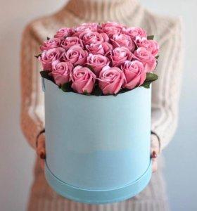Букет из неувядающих роз, мыльные розы