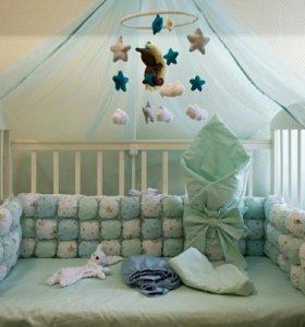 Бортики в кроватку гнездышко постельное белье