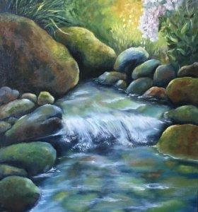 Картина маслом «Садовый ручей»