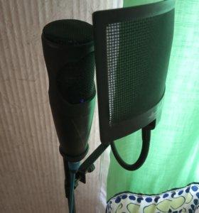 Микрофон,штатиф,фильтр и кабель фантомного питания