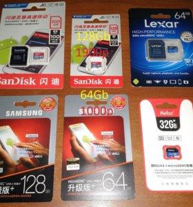 microSD 200Гб, 128Гб, 64Гб и 32Гб карты памяти