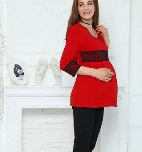 Костюм для беременных и кормящих с кружевом -красн