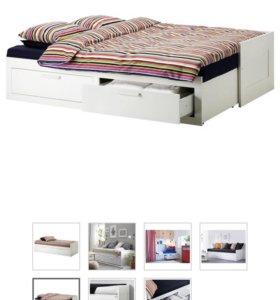 Кровать двуспальная раздвижная с ящиками ИКЕА