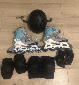 Ролики + защита + шлем+сумка-oxelo