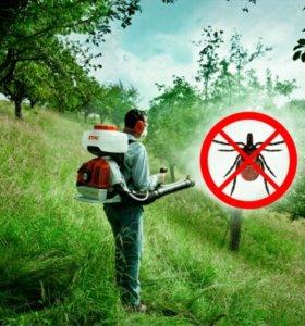 Обработка территорий от клещей, комаров и др.