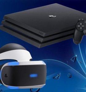 PS 4 Slim 1Tb + Шлем VR + 2 контроллера