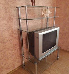 Вместительная 5-и ярусная тумба под ТВ стекло/хром