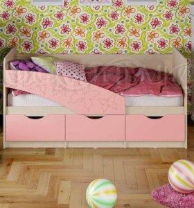 Детская кровать «Бабочки» для девочек 1,6