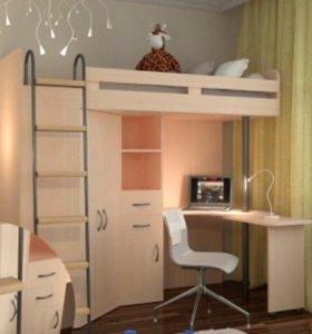 Кровать-чердак с рабочим местом и шкафом