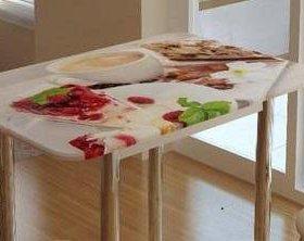 Стол обеденный с принтом (Белый-десерт)